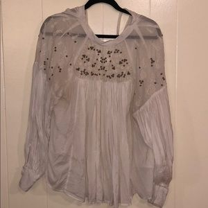 Free People Pirate Blouse With Gold beading